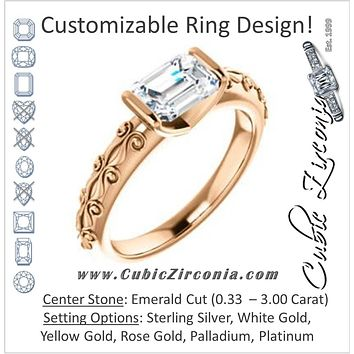 Cubic Zirconia Engagement Ring- The Cora (Customizable Bar-set Emerald Cut featuring Organic Carved Band)