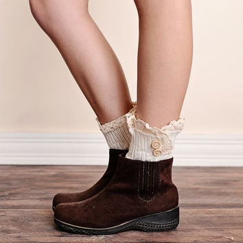 Lace Trim 2 Button Cable Knit Boot Cuffs Ivory Ankle Socks