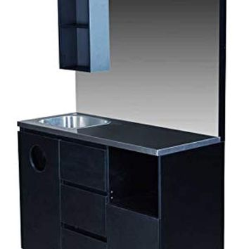 Black Barber Styling Salon Station With Mirror And Sink