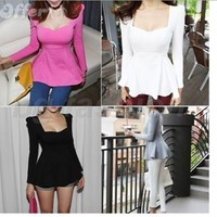 iOffer: Skirt Top Blouse Shirt Thin sexy Neck Long Sleeve Slim for sale
