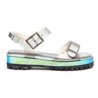 Pollini Holographic Chunky Tread Sandal - Browns - Farfetch.com