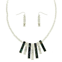 Hammered Abalone Necklace and Earring Set