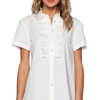 Marc by Marc Jacobs Lyra Washed Poplin Short Sleeve Shirt in White