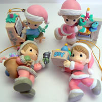 Precious Moments Christmas Ornament Lot 4 Boy Ornaments Piano Santa Fireplace Pastel Pink Blue Mint Green Home for the Holidays Collection