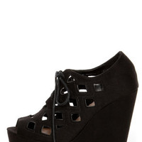 Soda Resist Black Cutout Lace-Up Platform Wedges