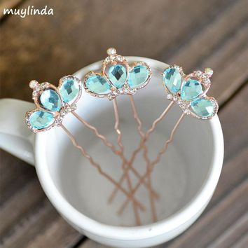 Fashion Glasses Small Crown Hairpins For Girls Bridal Hairpins Sticks Jewelry Rhinestone Metal Mix Color Ladies Hair Accessories