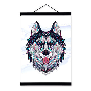 Modern Ancient African National Totem Animals Dog Head A4 Framed Canvas Painting Wall Art Prints Picture Poster Bar Decoration