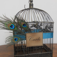 Wedding Card Box Peacock Birdcage Wedding Card Holder/ Wedding Bird Cage Decoration
