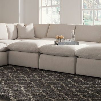 31102-64-77-46-3-65-08-3 9 pc Lotus savesto beige linen like fabric feather blend modular sectional sofa