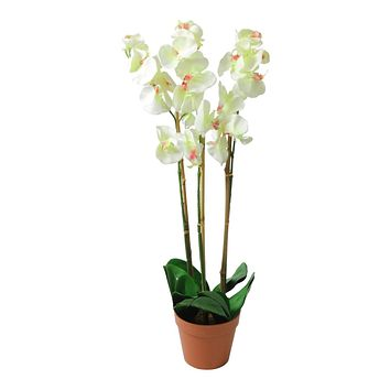 "30.5"" Potted White Phalaenopsis Orchid Artificial Silk Flower Plant"