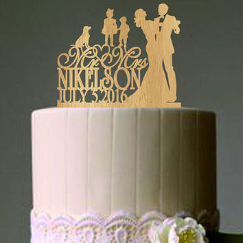 Bride and Groom Cake Topper, Mr and Mrs Wedding Cake Topper, Family Wedding Cake Topper little girl a little boy with a dog, Cake Topper