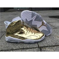 Air Jordan Retro 6 Metallic Gold Air 6s With Gold JUMPMAN and Box Top Quality man basketball shoes