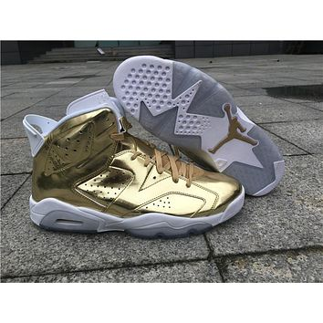 Air Jordan Retro 6 Metallic Gold Air 6s With Gold JUMPMAN and Box Top  Quality man 9ce213643