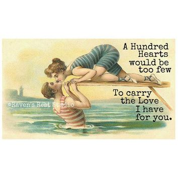 A Hundred Hearts Would Be Too Few To Carry The Love I Have For You Funny Vintage Style Anniversary Card Valentines Day Card Love Card FREE SHIPPING