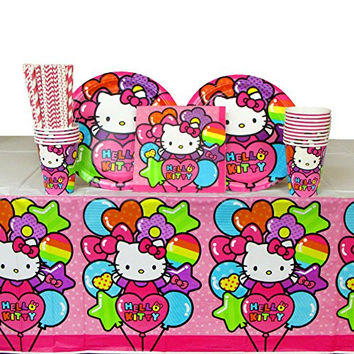 Hello Kitty Party Supplies Pack for 16 Guests Includes: Straws, Dinner Plates, Luncheon Napkins, Cups, and Table Cover (Bundle for 16)