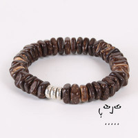 VujuWear Brown Coco and Metal Men's Beaded Stretch Bracelet
