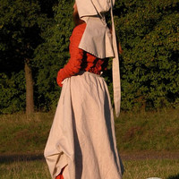 """Custom Medieval Dress and Skirt (Apron) Set  with Hat """"Red Elise"""""""