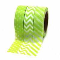 Dress My Cupcake Party Collection Washi Paper Tape, Kiwi Green, Set of 3