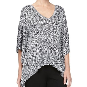 Space-Dye Poncho Sweater, Black/White - Michael Kors