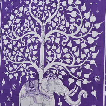 Tree of Life Wall Art, Elephant Tapestries, Indian Wall Hanging, Bohemian Wall Tapestries, Queen Bedding, Purple Bedspread
