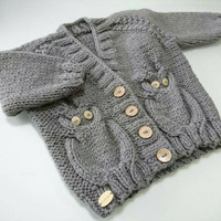 Baby boy, Owl Baby sweater, baby outfit, toddler sweater, baby gift, owl sweater, baby knit, baby wool, baby gardigan, toddler gift