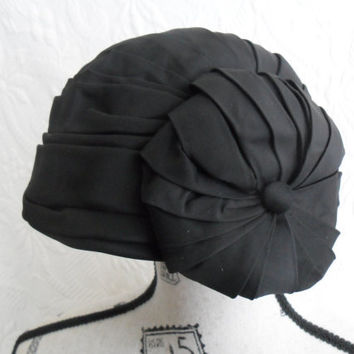 Vintage Satin Turban Hat Made in England  Henri Bendel Special Occasion