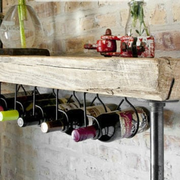 "Industrial Reclaimed Wine Bar and Rack (150 year plus ""old growth"" wood) free shipping 48""  l x 11.5"" w x 35"" tall"