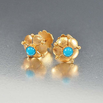 Persian Turquoise Gold Victorian Earrings, Antique Jewelry, Pierced Flower 14K Gold Earrings, Turquoise Earrings Victorian Jewelry