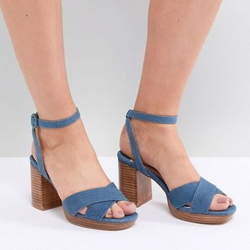 Faith Wide Fit Denim Stacked Heeled Sandals at asos.com