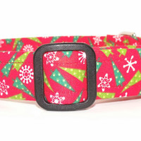 Christmas Dog Collar Red with Christmas Trees and Snowflakes