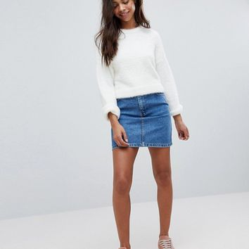 ASOS PETITE Cropped Jumper in Fluffy Knit and Wide Sleeve at asos.com