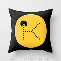 Video Game Monogram Personalized Custom Pillow Cover 16x16 Couch Art Bedroom Room Decor Initial Name Letter Yellow Man Gamer Ghost Eating