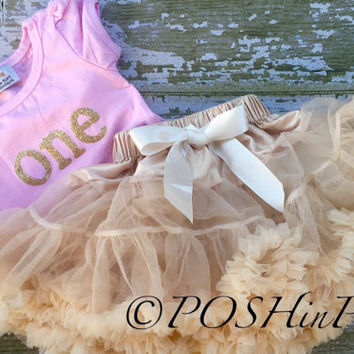 First Birthday, Outfit, cream, pettiskirt set, one year old, 1, petti skirt, chiffon, girls, skirt, black, gold, party, t-shirt