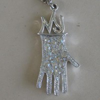 Vintage Michael Jackson Glove Necklace with Rhinestones and Initials