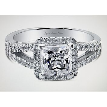 A Perfect 1.8CT Princess Cut Russian Lab Diamond Split Shank Halo Engagement Ring