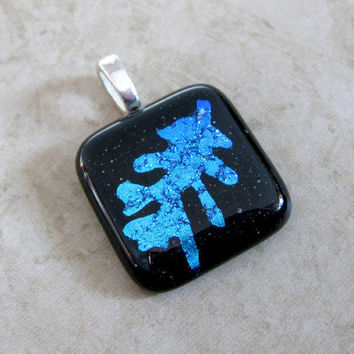 Etched Dichroic Oak Leaf Pendant Nature Blue- Strong Oak -  by mysassyglass