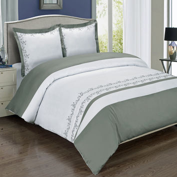Amalia Gray Embroidered Duvet Cover Set