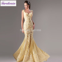 Chic Gold Mermiad Evening Gowns With Appliques Sequins Sweetheart Vestido De Noiva Long Prom Dresses Middle East Style Dress