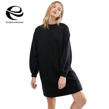 Loose Lantern Sleeve Black Velvet Sweatshirt Dress Autumn 2016 Mini Thick Winter Dress Women Plus Size Lady Warm Cashmere Dress