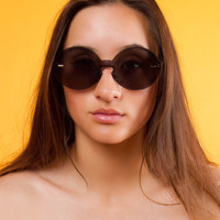 Round Rimless Sunglasses | Black