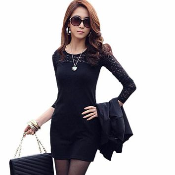 Women Sexy Lace Splice Bodycon Slim Skinny Long Sleeve Office Lady Mini Dress robe longue femme