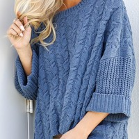 All Bundled Up Dark Blue Oversized Knit Sweater