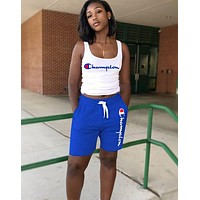 Champion Hot Sale Woman Casual Print Sleeveless Vest Top Shorts Set Sport Two Piece Blue