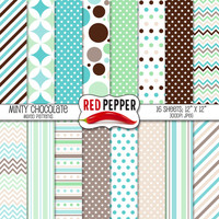 Minty Chocolate - Digital Paper - Instant Download - Ideal For Scrapbooking and Background Supplies