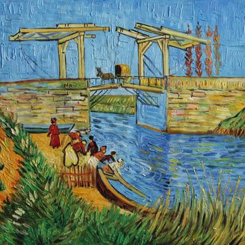 """VG103-The Langlois Bridge at Arles with Women Washing-Van Gogh Repro Oil Painting 20x24"""""""