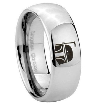8MM Classic Mirror Dome Star Wars Boba Fett Sci Fi Science Tungsten Silver Engraved Ring
