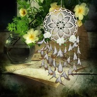 Lace Flower Handmade Dreamcatcher Feather Bead Dream Catcher Net for Car Wall Decoration Hanging Ornaments