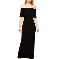 Black Boat Neck Flouncing Maxi Dress
