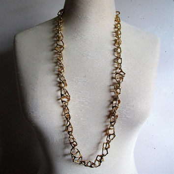 KJL Kenneth Jay Lane Brutalist Cage Chain Link Belt Necklace Signed KJL Gold Tone Statement Jewelry