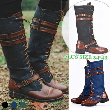 Winter Fashion Women Lace Up Punk Martin Boot Leather Cowboy Knee High Boots Hiking Flat Tall Boots